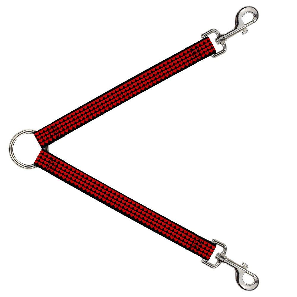 Buckle-Down DLS-W31304-W Leash Splitter-Mini Hearts Black Red, 1.5  W-30  L