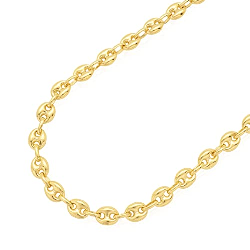 97e12d0dcff7f Amazon.com: 14K SOLID Yellow Gold 6.65MM Puff Mariner/Marina Chain ...