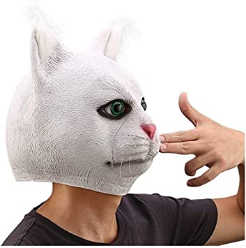 Amazon Com Xin Latex Funny Full Head Grumpy Garfield White Cat Mask Costumes Cosplay For Funny Carnival Halloween Party Costume Movie Props Home Improvement