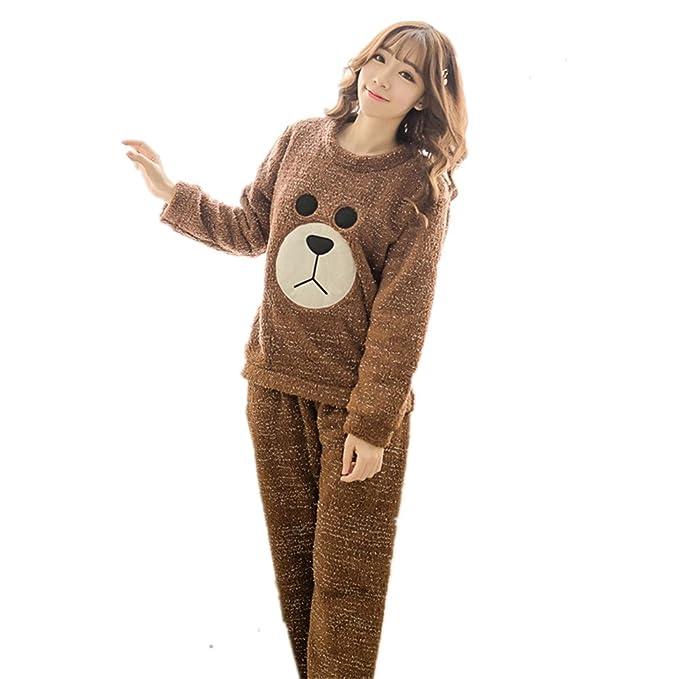 BOMOVO Conjunto de pijama - oso café Cachemira de coral Ropa de dormir