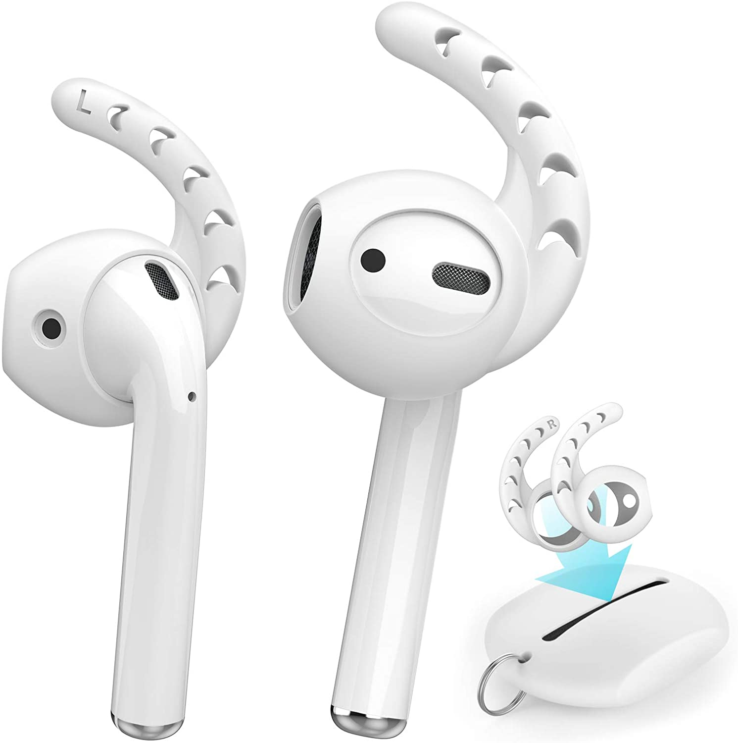 AhaStyle 3 Pairs AirPods Ear Hooks Silicone Accessories [ Added Storage Pouch] Compatible with Apple AirPods 1 and 2 or EarPods Headphones(Milk White)