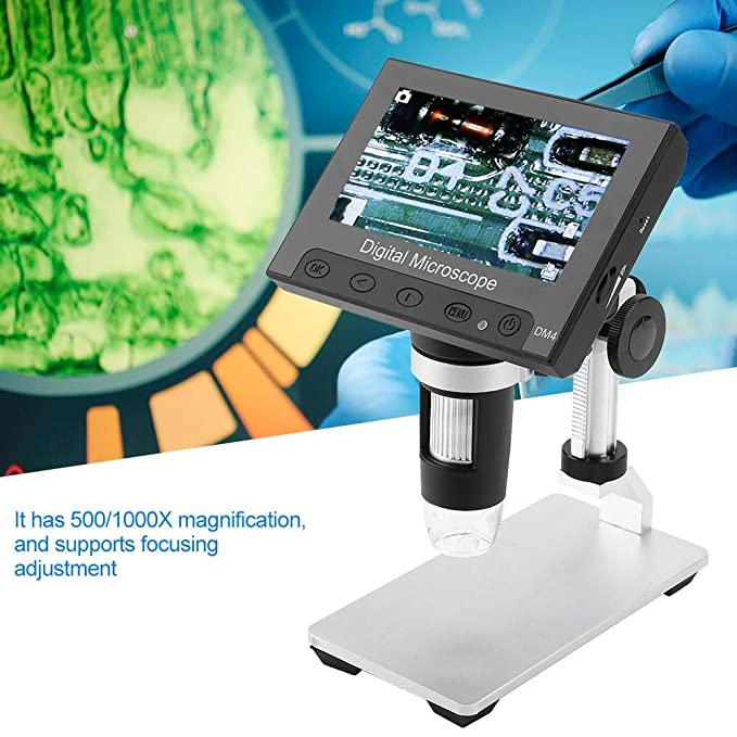 DM4 2MP 500//1000X 4,3 Zoll Digital Electronic Microscope Display Lupe mit LED-Licht Kunststoffhalter