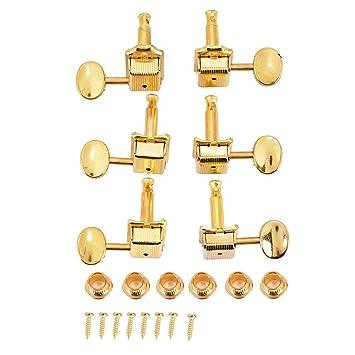 Dilwe 6R Sintonizadores de Guitarra, Oro Semicerrado Cabeza Redonda Clavijas de Ajuste de Aleación de