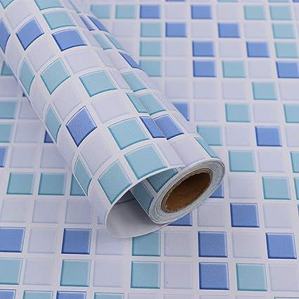 Hode Mosaïque Papier Adhesif Carrelage 40X300cm Autocollant Mural  Imperméable Auto-adhésif en Mosaïque pour la Salle de Bain et la Cuisine  (Bleu), ...
