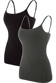 d377c9c6ce11d8 beautyin Women s Cotton Camisole Adjustable Spaghetti Strap Tank Top Shelf  Bra Cami Tanks