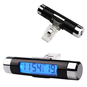 Rumfo Car Auto LCD Display 2 In 1 Mini Car Digital Clock Thermometer Time Monitor Portable Electronic Clip-On LED Backlight