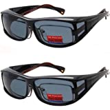 66a05b3de2 2 Pair Polarized Fit Over Wear Over Prescription Glasses Lens Cover  Sunglasses