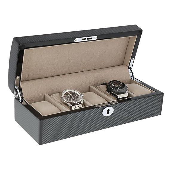 Aevitas - Caja para 5 relojes (acabado de fibra de carbono, con accesorios cromados