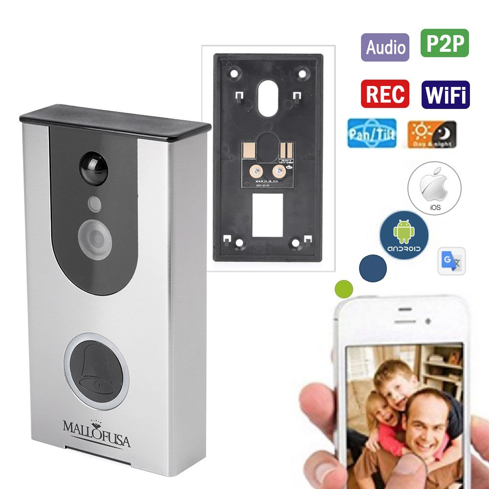 Mallofusa WIFI Video Doorbell, Smart Camera Doorbell 720P,8G Storage, Two-Way Talk, Night Vision , PIR Motion Detection and App Control for iOS and Android