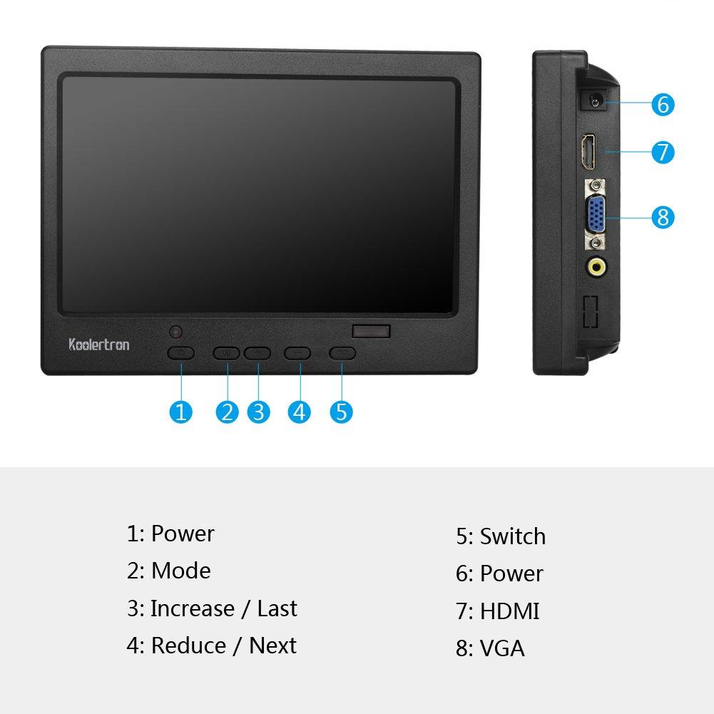 /Überwachungskamera Raspberry Pi Switch Xbox PS4 PS3 Laptop 1366 x 768 IPS Tragbarer LCD HD Bildschirm Monitor mit VGA HDMI Lautsprecher mit 3,5-mm-Kopfh/öreranschluss f/ür PC 11,6 Zoll Monitor