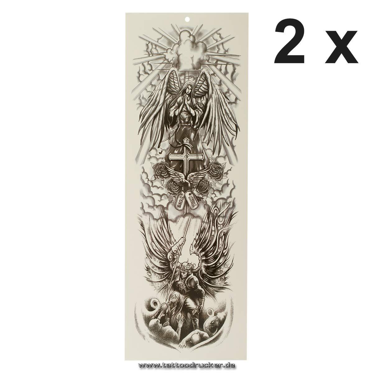 Tatuaje XXL de ángel, cruz, paloma, deimona, cielo, brazo, pierna ...