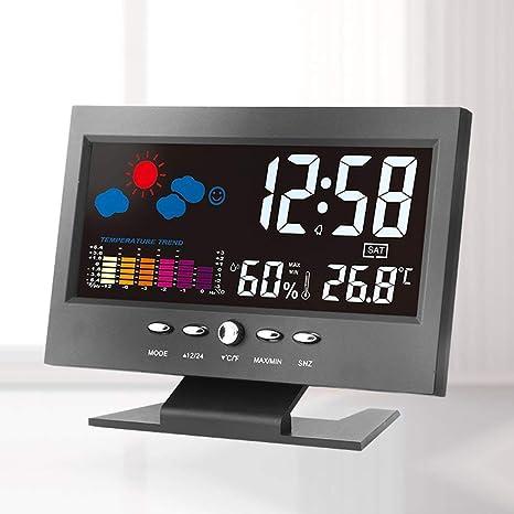leoboone Electrónico Digital LCD Temperatura Humedad Monitor Reloj Termómetro Higrómetro Electrónico Interior Casa Pronóstico del Tiempo