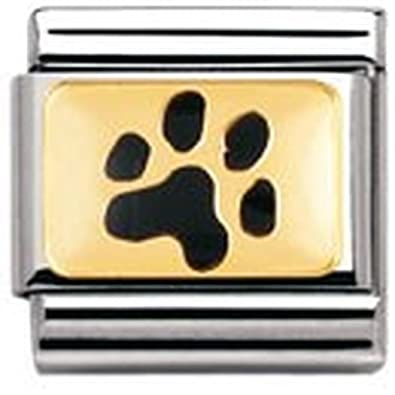 Nomination Composable Classic Land Animals Dog Paw Stainless Steel, Enamel and 18K Gold