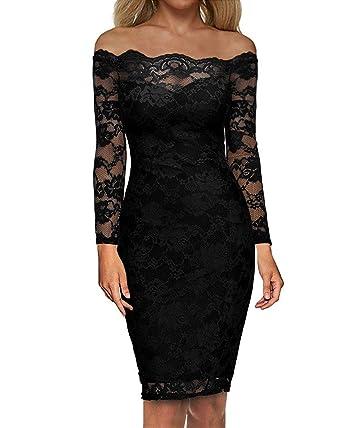 270127d6c75 Auxo Off Shoulder Floral Lace Long Sleeve Midi Cocktail Party Dress Vintage  Gowns Swing Prom Dresses