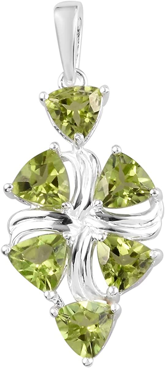 TJC Sterling Silver Pendant for Women with Chinese Peridot