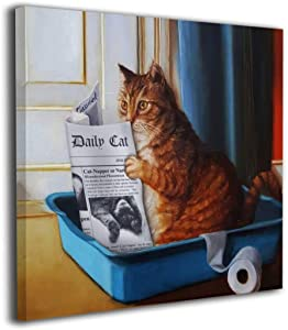Cat Toilet Reading Newspaper Painting Orange Tabby Litter Box Canvas Picture Bathroom Laundry Room Decor Cute Kitty Animal Artwork Framed 12''X12'' Inch