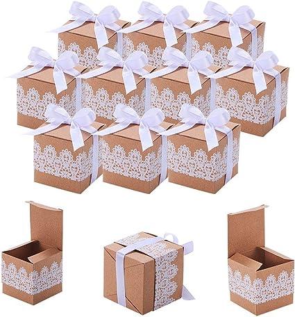 50pz Scatole di forniture per bomboniere per bomboniere quadrate in carta kraft marrone Scatole di caramelle per bomboniere quadrate in carta