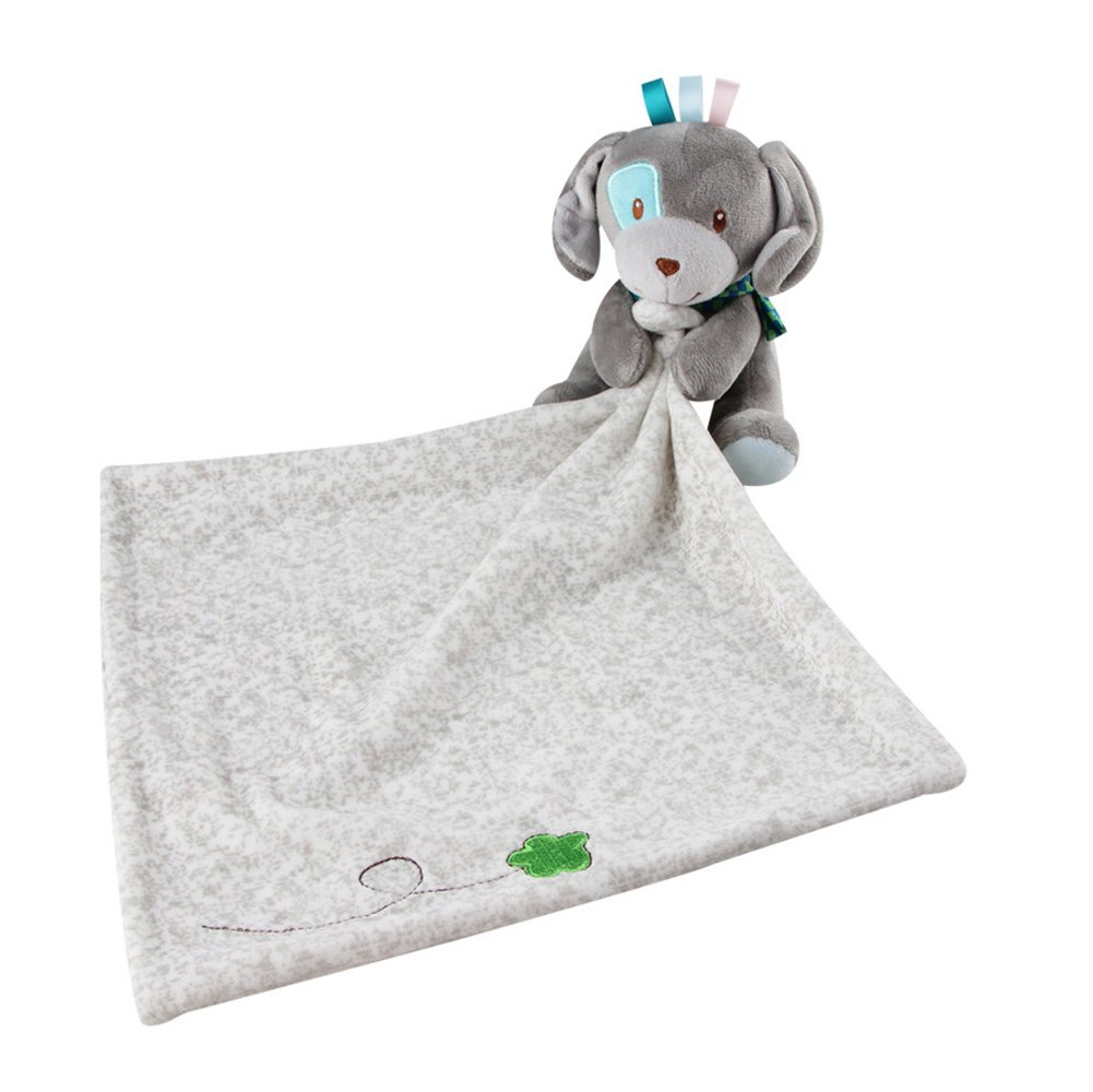INCHANT Lovely Security Blanket 30 x 29Cm Stuffed Animal Baby Blankie for Girls or Boys,comforter Blanket Soother Security Blanket (Gray Dog) by Inchant