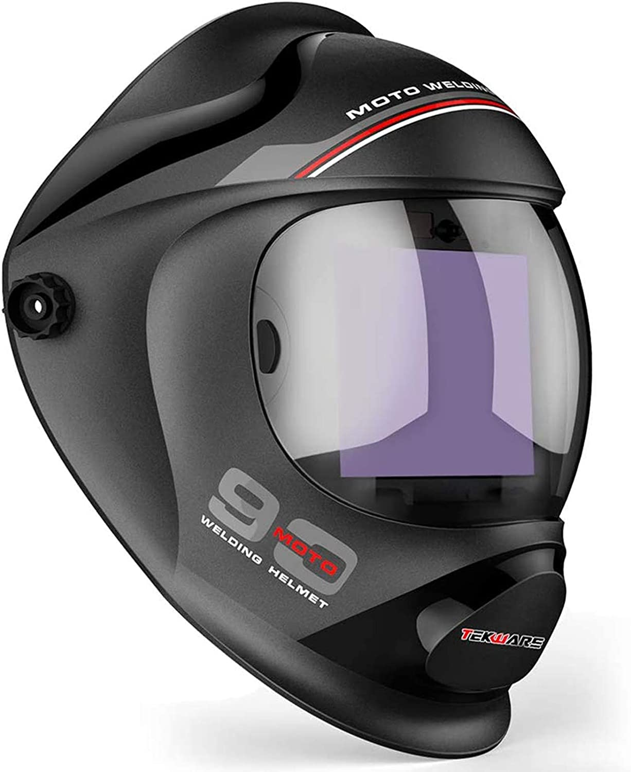 Top protection with ultra large viewing welding helmet: Tekware WH009--BLACK/MOTO90