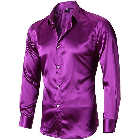 Camisa Seda Hombre, Manga Larga, Slim Fit, Camisa elástica y Brillante para Espectáculo/Fiesta/Boda/Negocio/Ceremonia, Morado, 41(L): Amazon.es: Ropa y ...