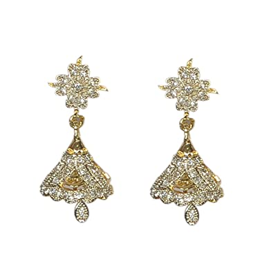 30bfc625b Buy Pourni exclusive Designer American Diamond Jhumka Earring -PRER109  Online at Low Prices in India | Amazon Jewellery Store - Amazon.in