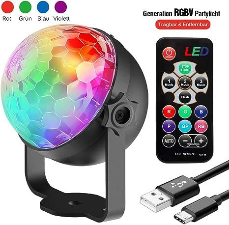 Discokugel Discolicht Kinder | LED Party Lampe Beleuchtung mit  Fernbedienung & USB | Discolicht Lichteffekt | 7 Farbe RGBP | Geburtstag  Xmas Halloween ...