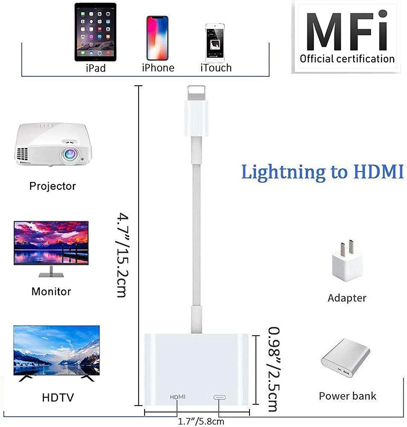 Lighting Digital AV Adapter 1080p HD TV Connector Cable Compatible with iPhone Xs Max XR X 8 7 iPad to TV Projector Monitor Lighting to HDMI Adapter Compatible with iPhone iPad