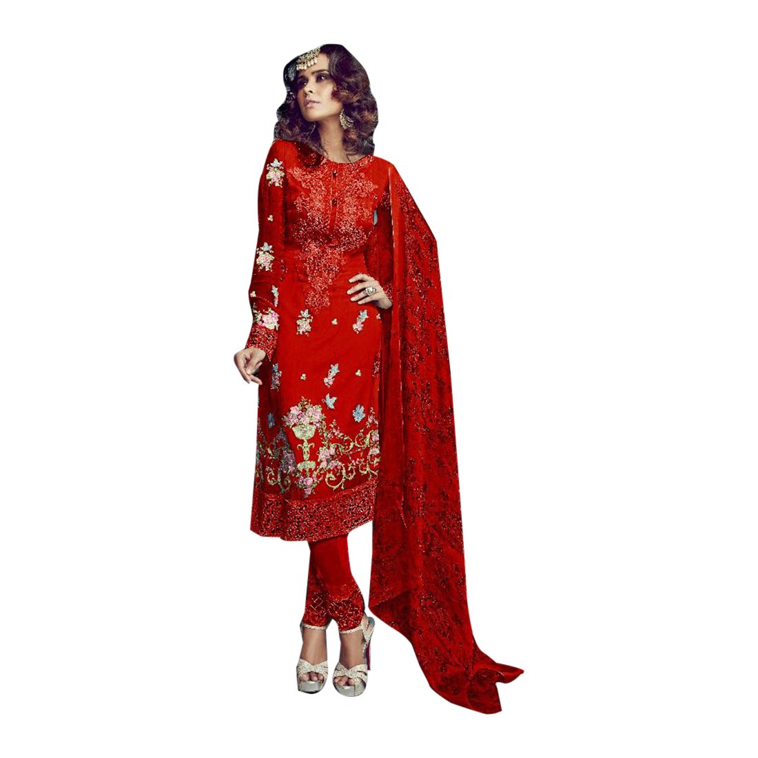 Amazon.com: Red Bollywood Collection Straight Salwar Kameez ...
