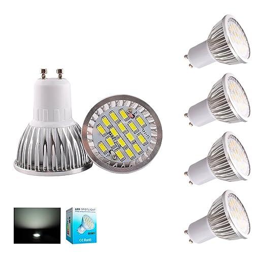 HHD® Paquete de 4 GU10 LED Bombillas focos led 5.5W Luces led, Equivalente a ...