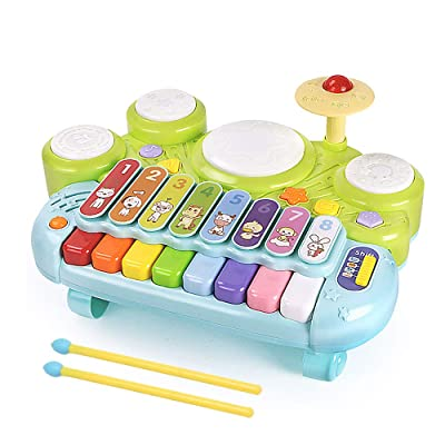 MzekiR Toy Musical Instruments for Toddlers - 3 in 1 Kids Piano Keyboard Xylophone Drum Set: Toys & Games [5Bkhe0801633]