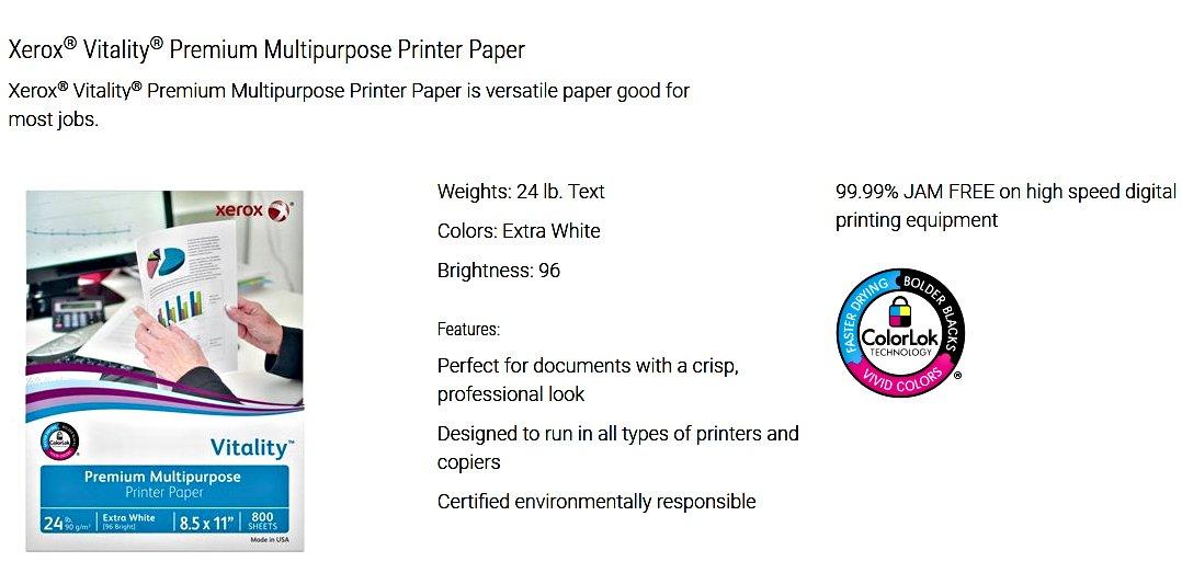 Xerox Vitality Premium Multi-Purpose ColorLok Extra White Printer Paper (8.5'' x 11'') - 4800 Sheets (6 Reams)