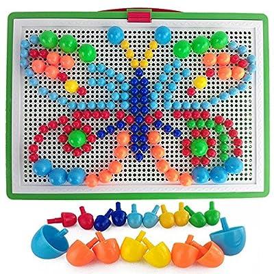 296 Morceaux ongles champignons bébé bricolage jouets puzzle 3D plastique jouets éducatifs précoce Creative Mosaic Kit jouet interactif