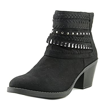Women's Tall Tale Block Heel Ankle Boot Bootie With Woven Warparounds 6 Black Fabric
