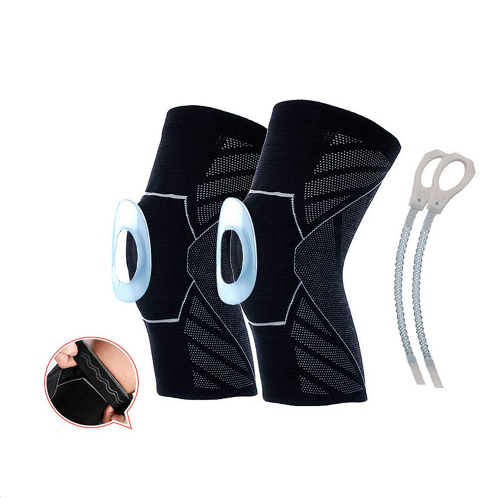 Bande antid/érapante Ressort Genouill/ère de Compression Genouill/ères Sportives Amortisseurs Chocs Anti-Collision /Équipement Protection Professionnel Running Basketball Riding Respirant Silicone