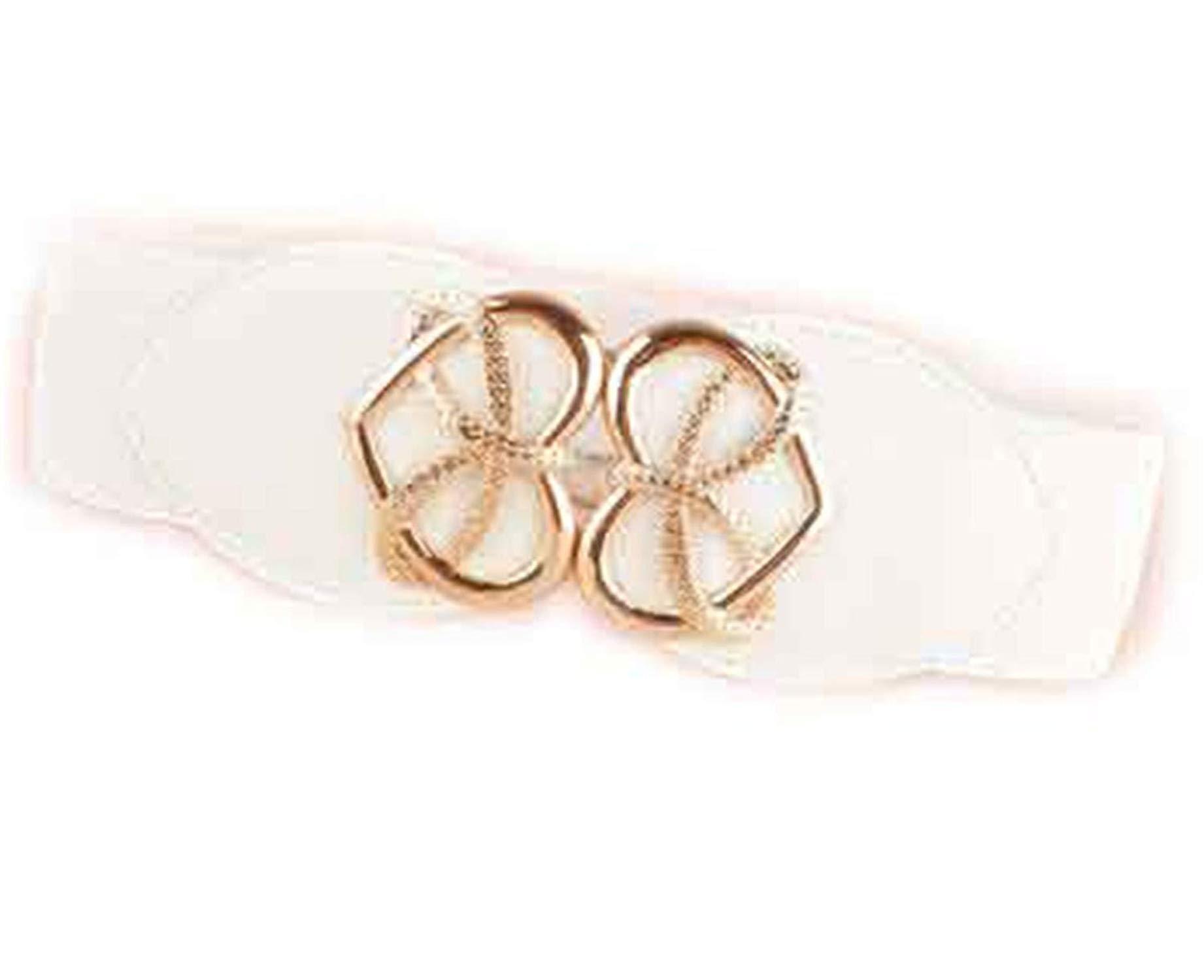 Mistere Nice Fashion Women's Cummerbund gold heart buckle Belt Wide WaistBand Female Leather Cummerbunds for Dresses,OneSize,White Color