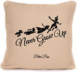 Four Leaf Clover Gift Shop Peter Pan Quote 'Never Grow Up' Throw Pillowcase |18x18 Inch Disney Cushion Pillow Cover