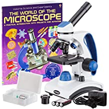 AmScope AWARDED 2016 BEST STUDENT MICROSCOPE 40X-1000X Dual Light Glass Lens All-Metal Frame Student Microscope with Slides and Book