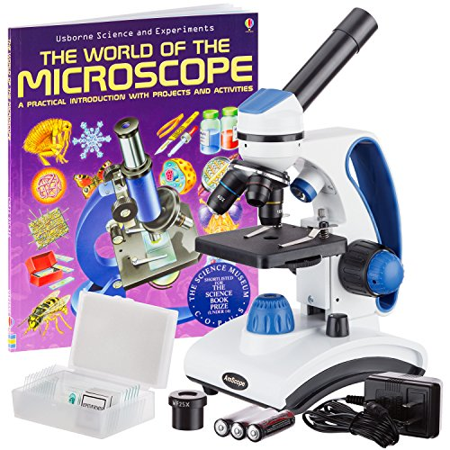 "AmScope ""Awarded 2018 Best Students and Kids Microscope Kit"" - 40X-1000X Dual Light All Metal Microscope with Slides and Microscope Book"