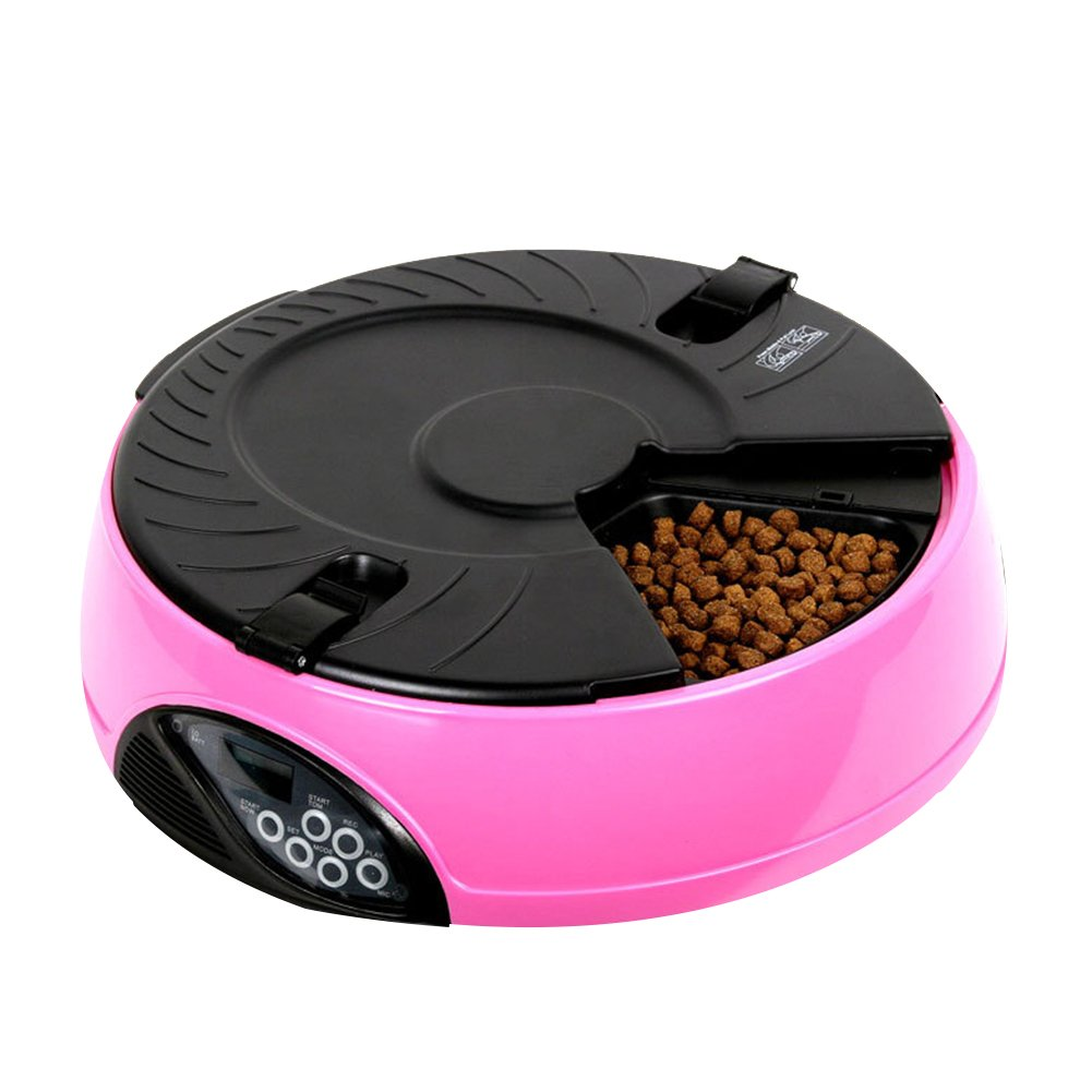 Zehui Automatic Pet Feeder, 6 Meals Timer Portion Control Simply Feed Bowls for Cats, Dogs, Chickens and Healthier Smarter Animals Pink