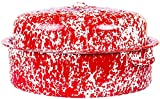 Enamelware Large Oval Turkey Roaster - Red Marble