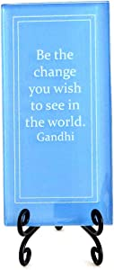 Lifeforce Glass Be The Change You Wish to See in The World Inspirational Glass Plaque. Encouragement and Motivation for Your Desk, a Gift for Someone Special. Includes a Folding Easel Blue.