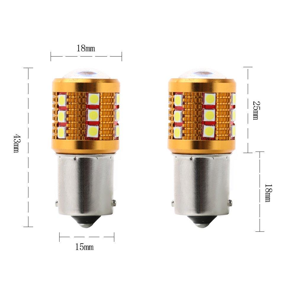 feux de stop Lot de 2 ampoules LED Cree blanches 100/W 12/V pour clignotant feux arri/ères de secours RCJ 1156 Ba15s 3030 24 SMD 382 P21W 100W CREE