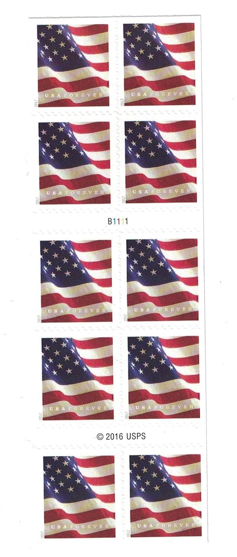 USPS para siempre siempre siempre Sellos folleto de bandera de Estados Unidos de 10 sellos 58f782