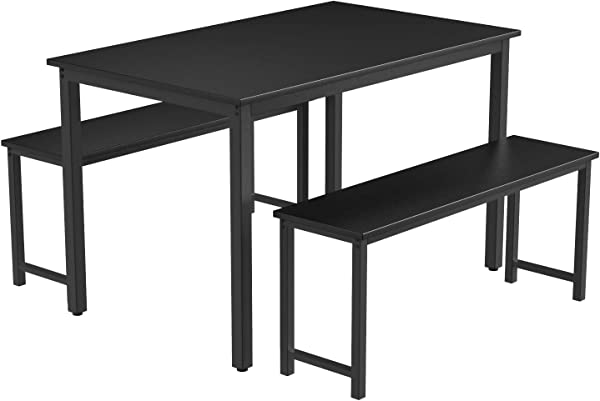 3 Pieces Farmhouse Kitchen Table Set with Two Benches, Metal Frame and MDF Board, Modern Furniture for Dining Room Home, Cafeteria, Apartment and Farm House (Black)