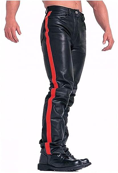 Amazon.com: Pantalones vaqueros de piel de vaca negra ...