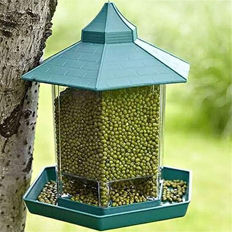 QINAIDI Alimentador de Aves Silvestres a Prueba de Agua para árboles de jardín al Aire Libre, comederos Colgantes, Verde: Amazon.es: Deportes y aire libre