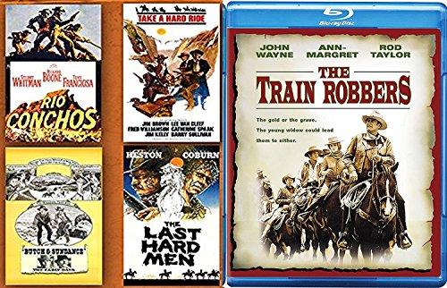 Timeless Westerns John Wayne Train Robbers Blu Ray + The Last Hard Men / Rio Conchos Butch & Sundance / Take a Hard Ride set western bundle