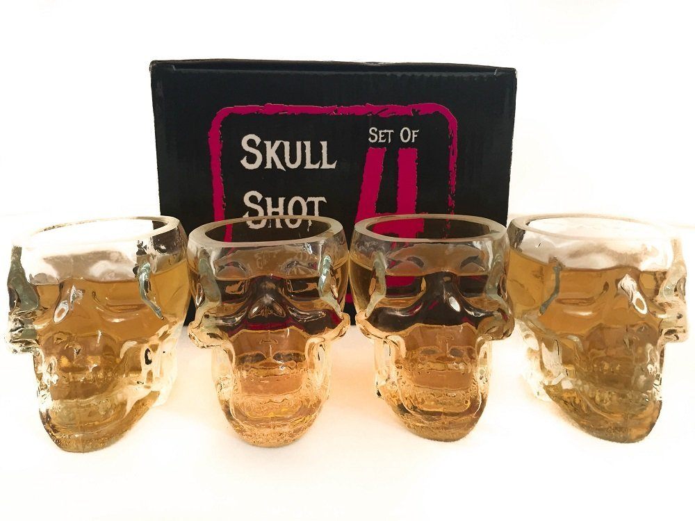Monkey and Heroes Extra Large Skull Shot Glasses Set of 4, Use Skull Head Cup For A Whiskey, Scoth and Vodka Shot Glass, 3 Ounces