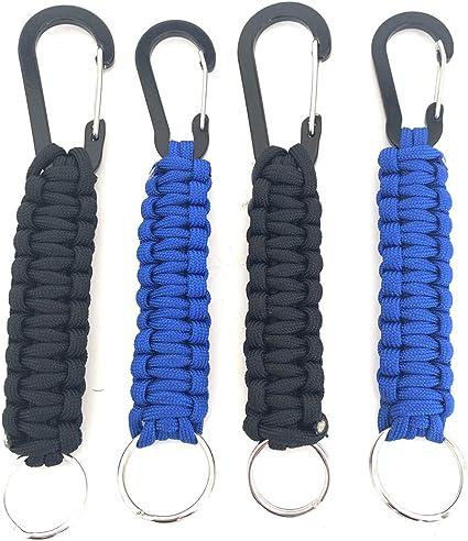 Llavero Paracord con mosquetón, kit de 4 piezas - Llavero de supervivencia de emergencia - Ideal para senderismo y camping (Negro Azul): Amazon.es: Oficina y papelería