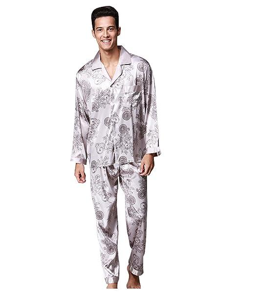 SheSmile Men Silk Pajamas Chinese Dragon Style Long Sleeve 2-pc Satin Men  Sleepwear  Amazon.ca  Clothing   Accessories b86cb3476